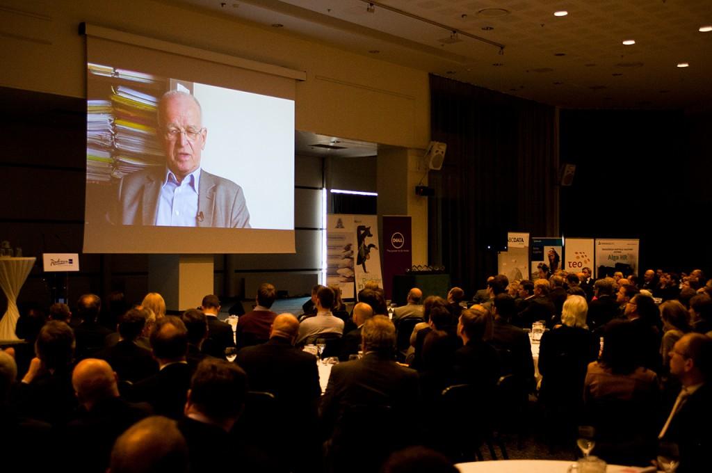 """Prof. L. Telksnys dokumentinio filmo """"INFOBALT: 20 metų augame kartu"""" premjeroje (2014 m.) A. Rutkausko nuotr."""